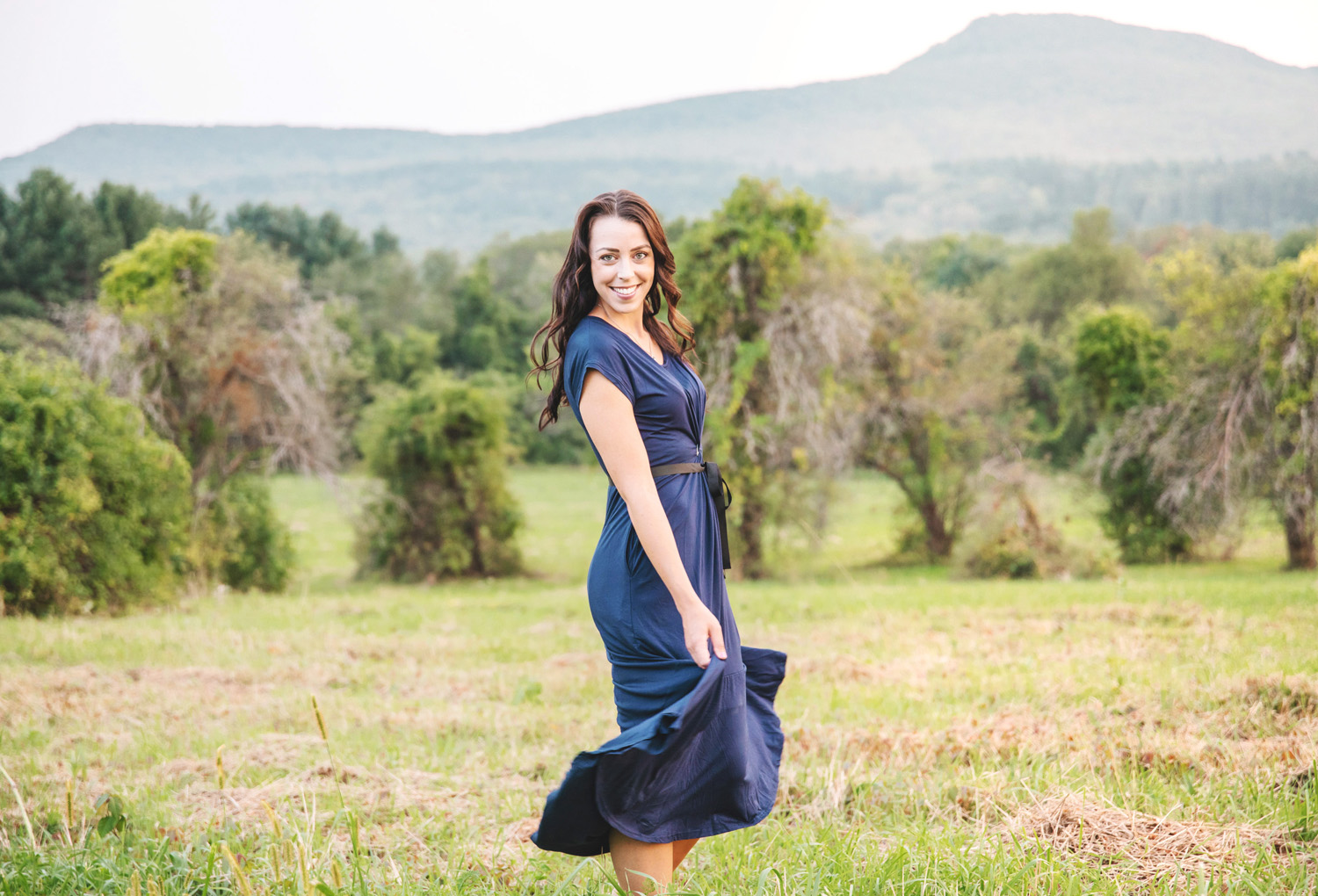 Portrait blue dress at Mount Pullox by Monika Normand Photography