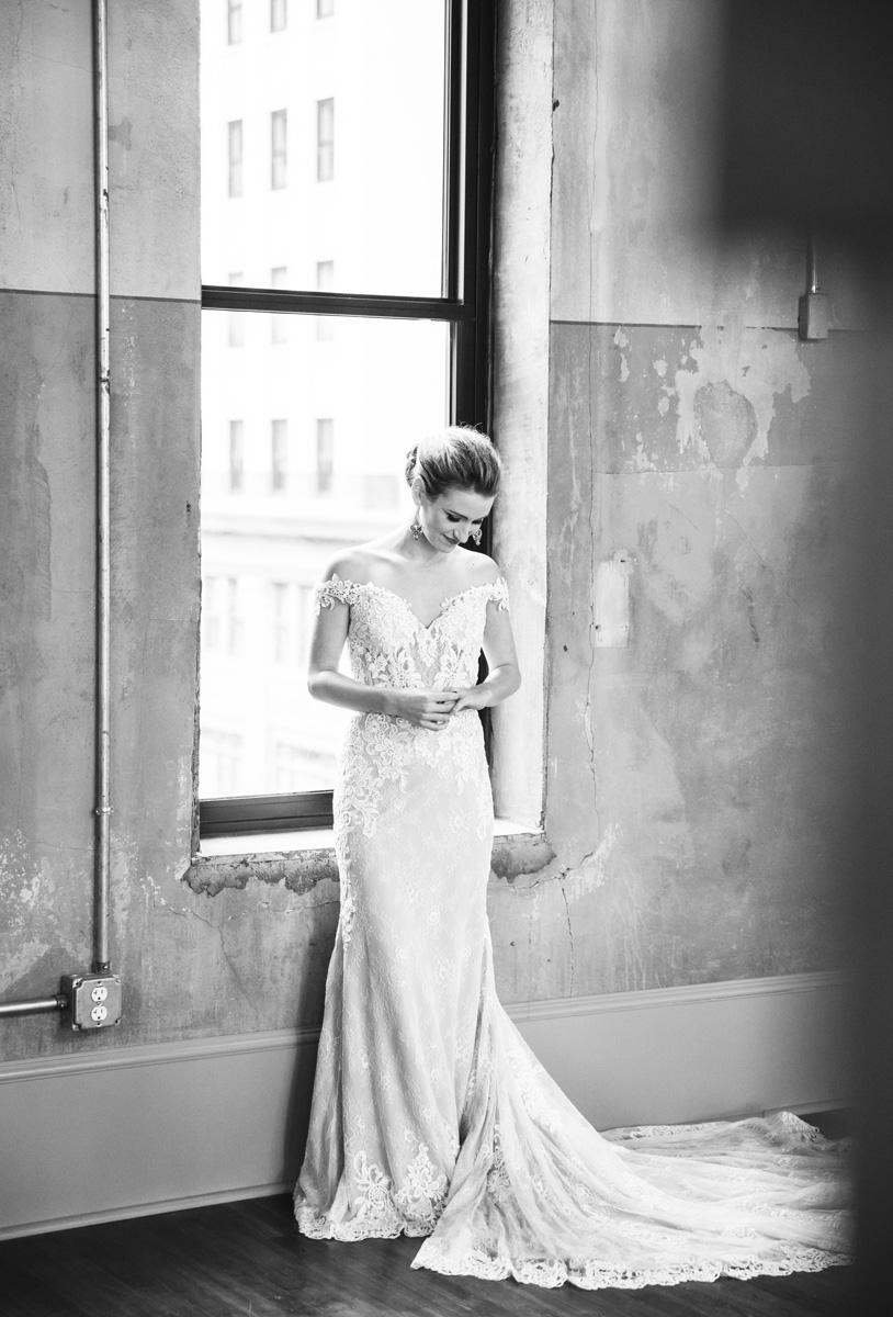 black and white bridal portrait by Monika Normand Photography