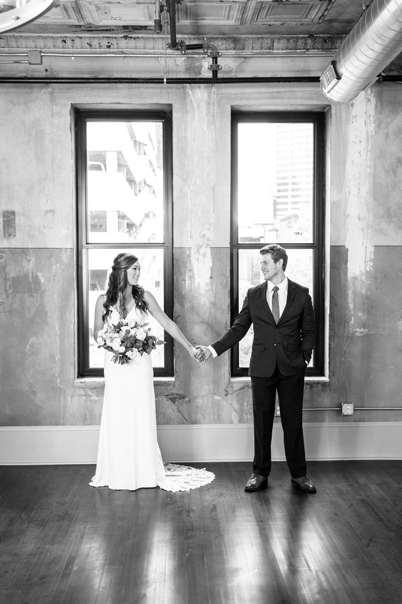 Industrial loft Fort Worth wedding with blue suit by Monika Normand Photography