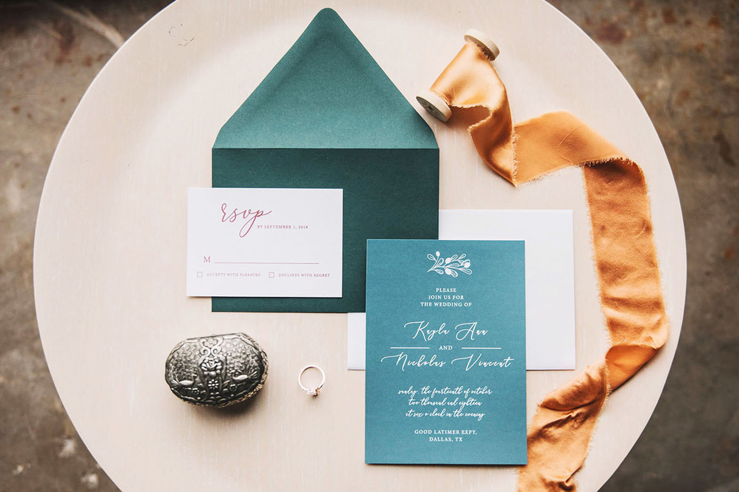 Invitation suite in teal by Monika Normand Photography