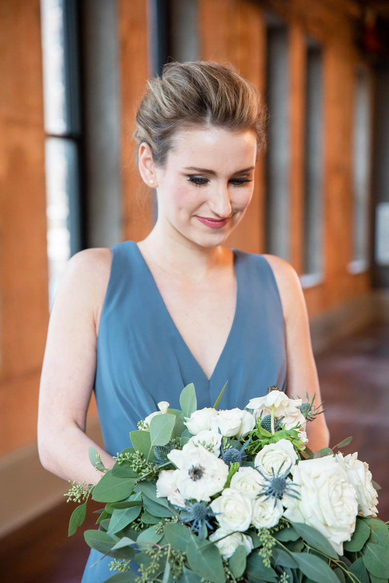 Blue bridesmaids dress by Monika Normand Photography
