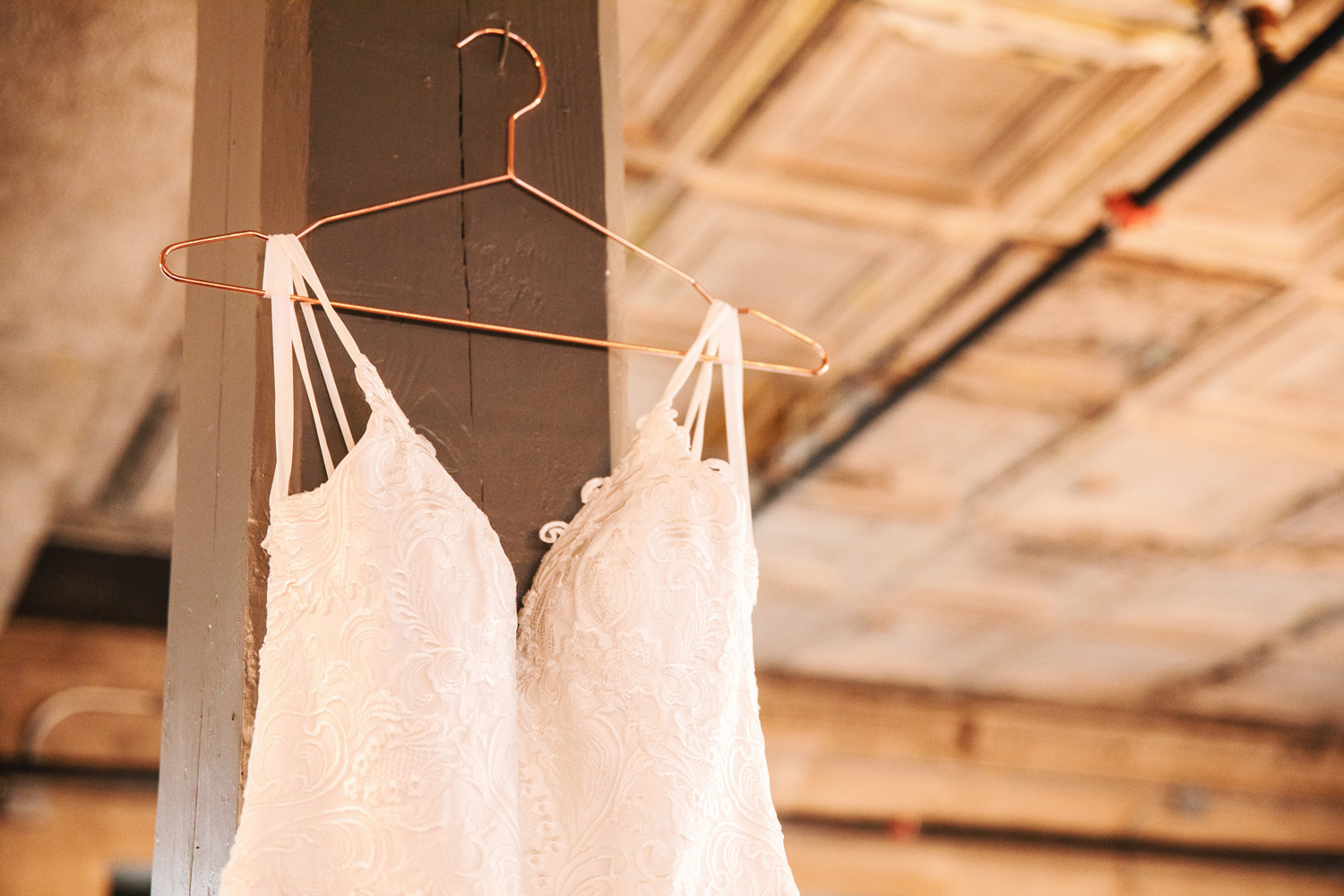 wedding dress industrial warehouse venue