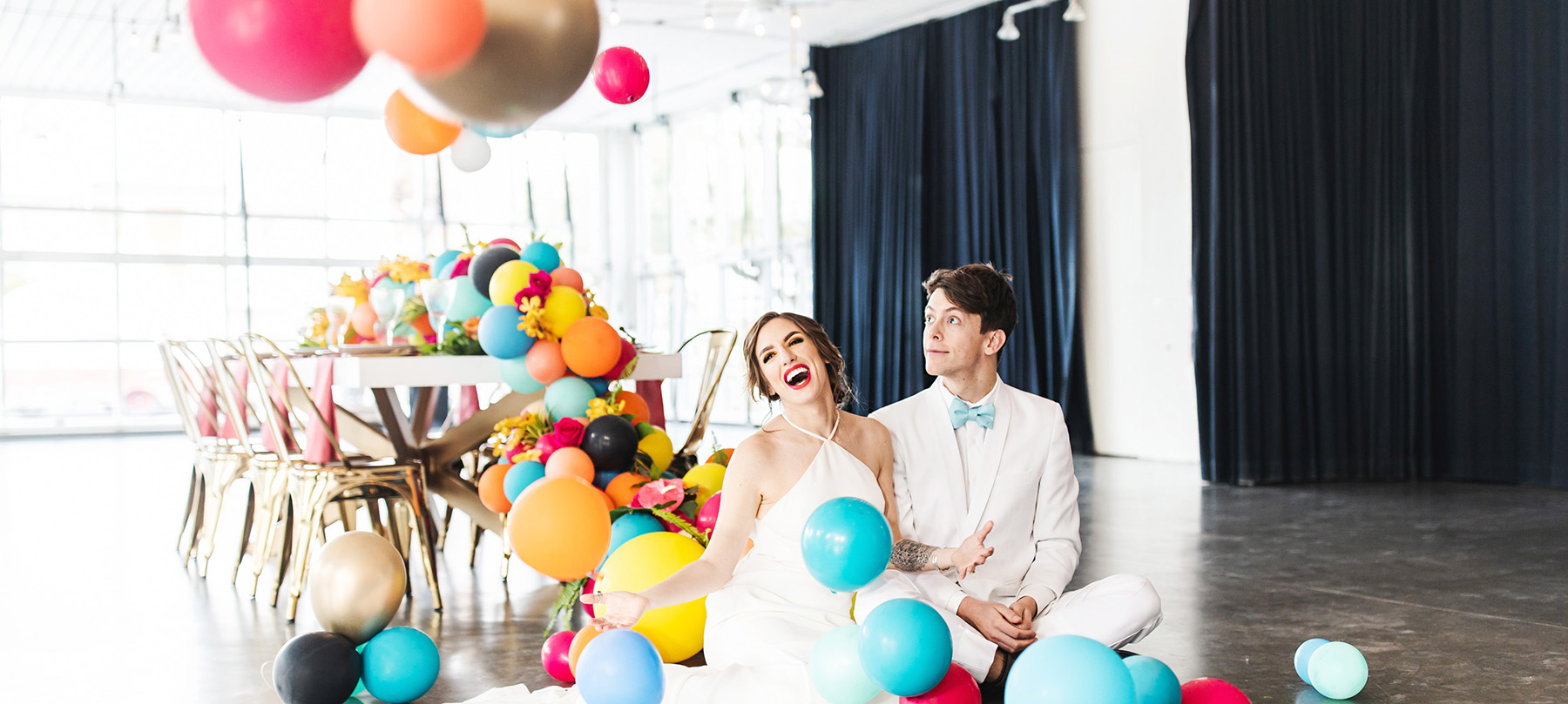colorful balloon wedding Monika Normand Photography
