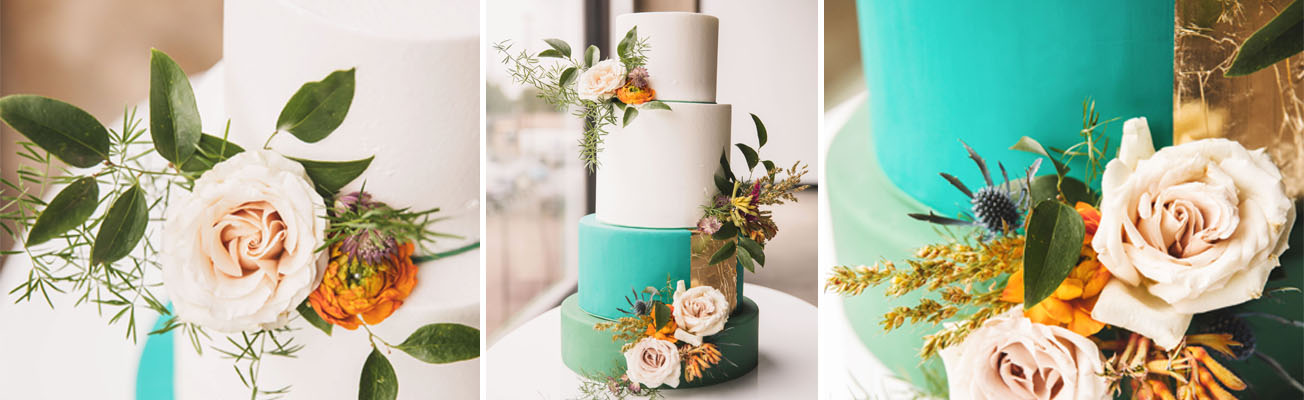 teal and orange cake